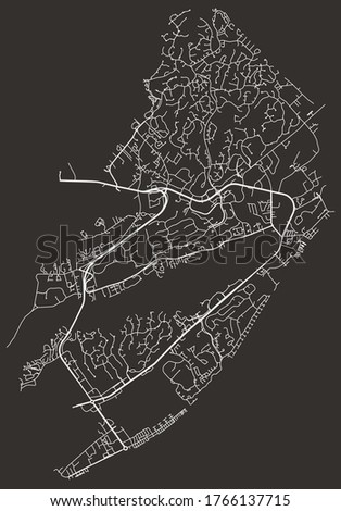 Hilton Head Island, South Carolina, USA – urban city vector map, roads and highways, transportation network, downtown city center with suburbs
