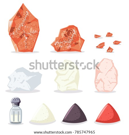 Himalayan pink and rock salt, sugar, pepper and other spices. Vector icon set of raw minerals for cooking isolated on white background.