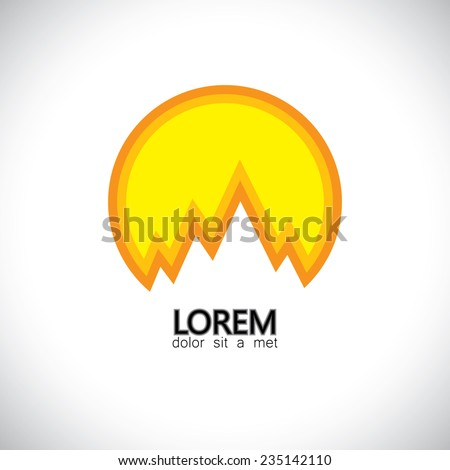 himalayas, andes, sunrise, sunset mountain alps - concept vector graphic. This icon also represents hilly landscape, snow covered mountains, peaks