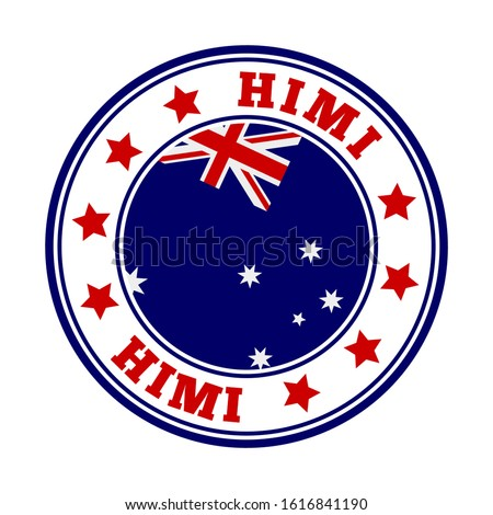 HIMI sign. Round country logo with flag of HIMI. Vector illustration. Сток-фото ©