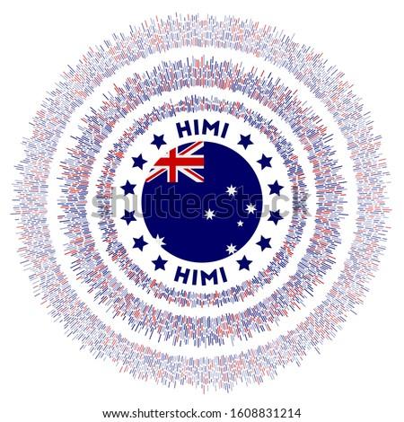 HIMI symbol. Radiant country flag with colorful rays. Shiny sunburst with HIMI flag. Astonishing vector illustration. Сток-фото ©