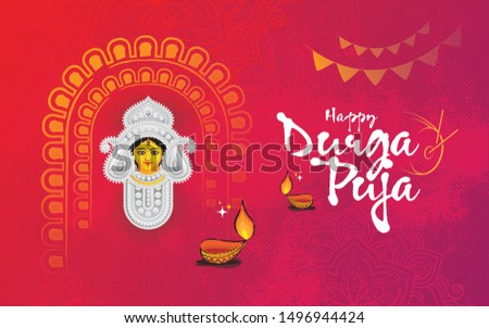 Hindi Religion Happy Durga Puja Festival Celebration Background Template Design with Goddess Durga Face Illustration