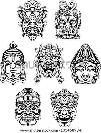 Hindu deity masks Set of black and white vector illustrations