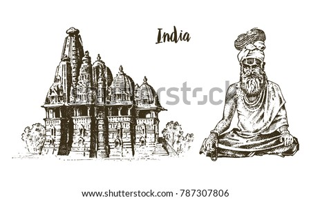 Hindu in national dress. Indian spiritual monk meditating. Traditional religious sadhu. engraved hand drawn in old sketch, vintage style.