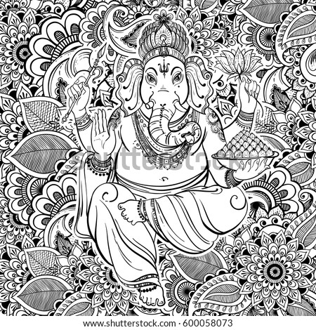 hindu lord ganesha over ornate