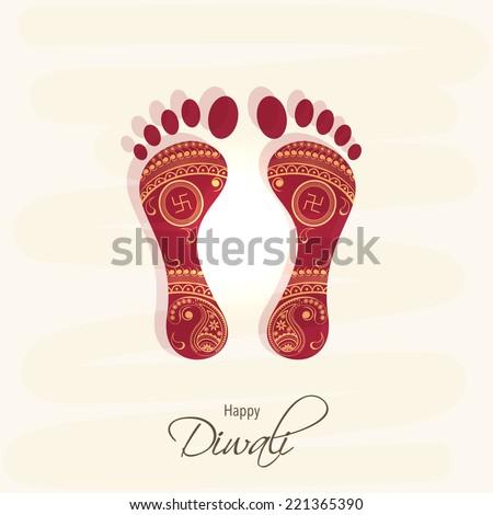 Hindu mythological Goddess Laxmi's footprint for blessing with stylish text of Diwali for Diwali celebration on grungy background
