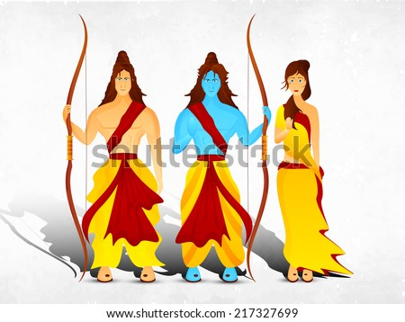 Hindu mythological Lord Rama with his wife Sita and brother Laxman in traditional clothes giving blessings on grey background