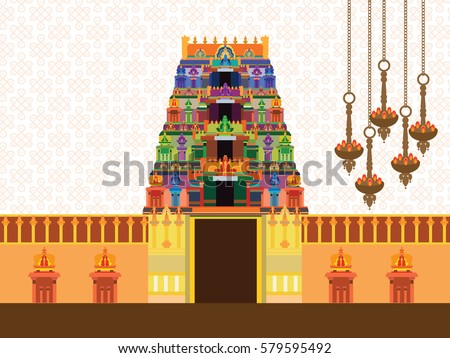hindu temple on pattern