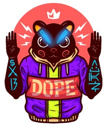 Hip hop album cover.  Black lives matter. Vector bear. Vector illustration with swag chatacter - DJ in cat mask.  Tshirt print design. Print for merch. Tee graphics deign. Swag gangsta. Hype art