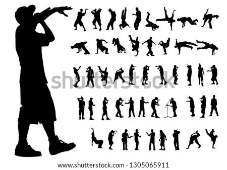 Hip-hop artists of dance on white background Stock fotó ©