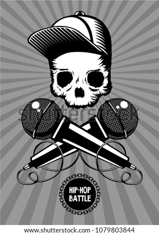 Hip-hop battle music poster with skull and microphones. Rap show vector illustration.