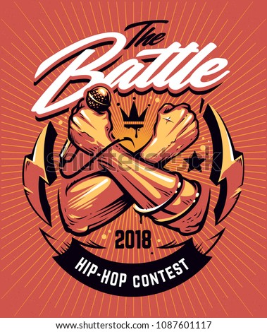 Hip-hop Battle Poster template. Design with crossed hands holding microphone and street art elements on red noisy background with sunbursts. Graffiti style vector art.