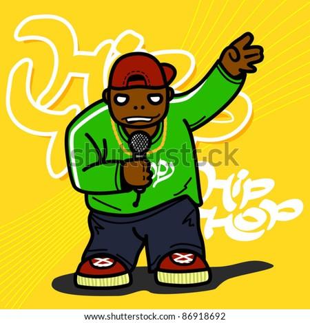 Hip hop black man. Vector illustration.