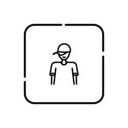 Hip-hop boy, human symbol vector icon