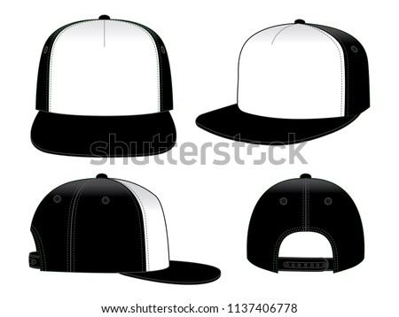 Hip Hop Cap Design Vector  : White / Black