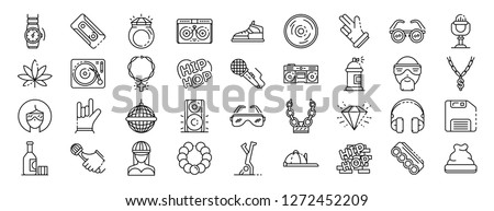 Hip hop dance icon set. Outline set of hip hop dance vector icons for web design isolated on white background