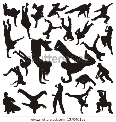 hip hop dancer silhouette on