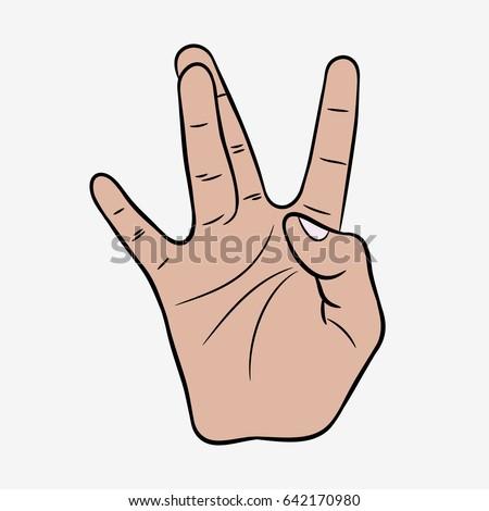 Hip-Hop hand gesture. West Coast rap sign. Vector illustration.