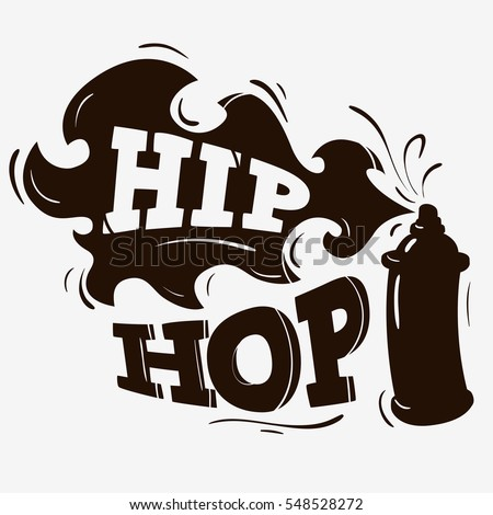 Hip Hop Label Design With A Spray Balloon Silhouette On A Brown Background. Vector Graphic.