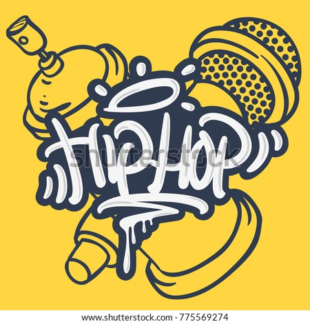 Hip Hop Lettering Custom Tag Style Characters With A Microphone And Graffiti Spray Can Baloon. Artistic Cartoon Hand Drawn Sketchy Line Art Style. Vector Graphic.