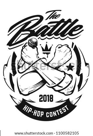 Hip-hop monochrome emblem with crossed brutal hands holding microphone. Rap battle emblem template with hip-hop and graffiti elements. Vector art.