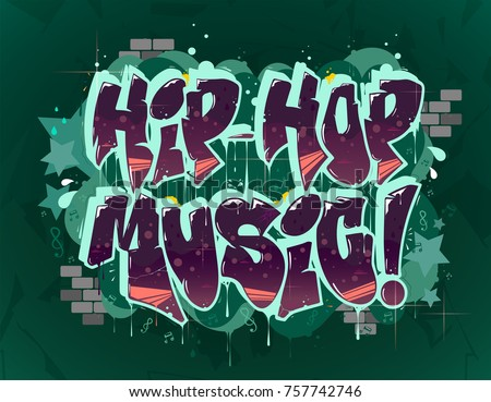 hip hop music illustration in graffiti style, lettering logo, vector.Typography for poster,t-shirt or stickers