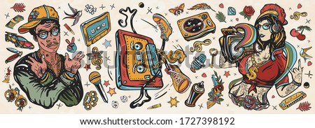 Hip hop music. Old school tattoo collection. African American man rapper in baseball cap and glasses, Rap girl, swag woman, boom box. Audio cassette, break dance. Tattooing musical street ghetto