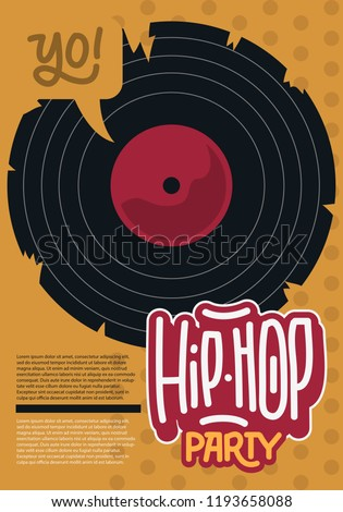 Hip Hop Poster Template Design With A Broken Vinyl Record . Vector Image.