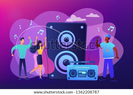 Hip hop singer with microphone at music speaker and tiny people dancing at concert. Hip hop music, hip hop party, RAP music classes concept. Bright vibrant violet vector isolated illustration