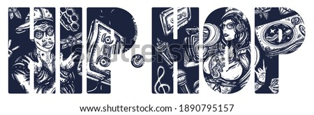 Hip hop slogan. Street music art.  African American man rapper in baseball cap and glasses, Rap girl, swag woman, boom box. Audio cassette, break dance. Old school tattoo style Stock foto ©