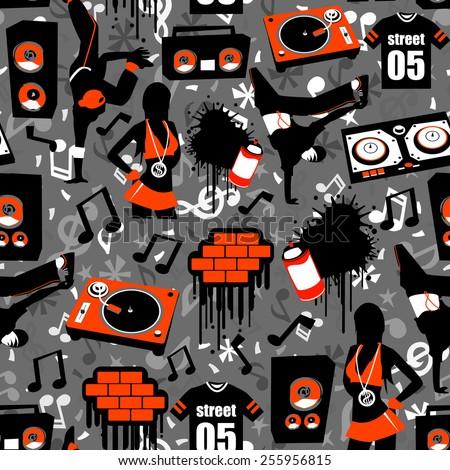 hip hop street seamless pattern