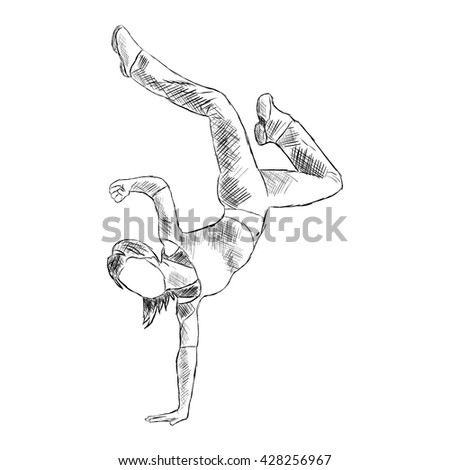 Hip-hop woman dancer vector sketch isolated on white background  676509657fe