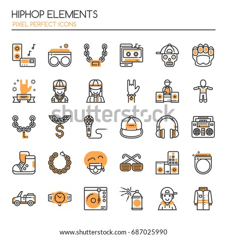 Hiphop Elements , Thin Line and Pixel Perfect Icons