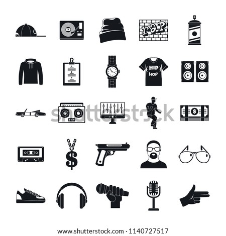 Hiphop rap swag music dance icons set. Simple illustration of 16 hiphop rap swag music dance vector icons for web