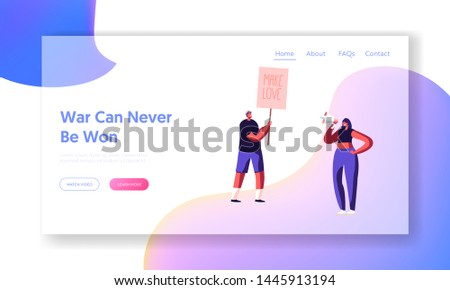 Hippie Activist Characters with Banner Make Love, Riot, Picket. People with Placards and Signboard on Strike or Demonstration, Website Landing Page, Web Page. Cartoon Flat Vector Illustration, Banner