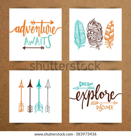 Hippie and Boho Style vector illustration. Adventure Awaits and Dream Explore Discover   poster, banner, flyer and greeting card set with ethnic arrows and feathers.