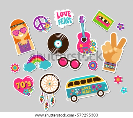 hippie  bohemian stickers  pins ...