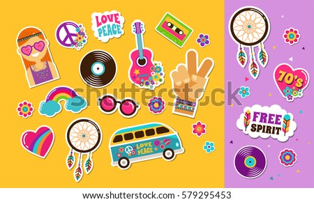 hippie  bohemian stickers  pins