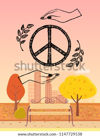 hippie emblem surrounded by two
