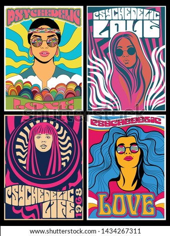 Hippie Girls Posters Psychedelic Art Vintage Colors and Styles