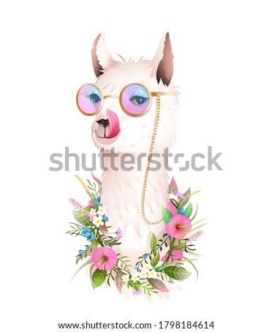 hippie lama in flowers licking