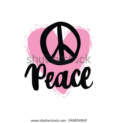hippie peace handwriting lettering, peace icon, hippie peace sign