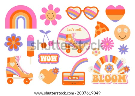 Hippie retro vintage icons in 70s-80s style. Flat vector illustration.