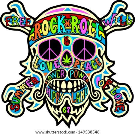 Symbole de la Paix  - Page 6 Stock-vector-hippie-skull-149538548