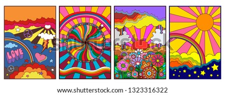 Hippie Style from the 1960s Psychedelic Backgrounds, Covers, Posters Templates