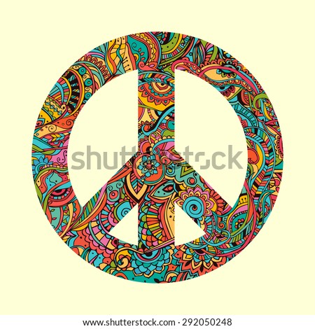 Hippie style. Ornamental watercolor background. Love and Music with hand-written fonts, hand-drawn doodle background and textures. vector illustration.  International Day of Peace