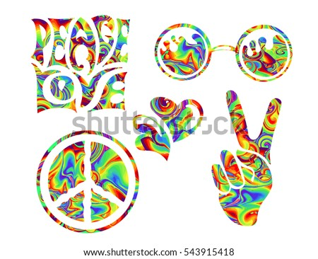hippie symbols two fingers as a