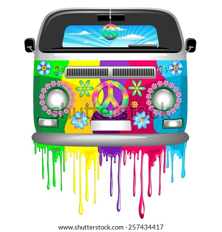 hippie van dripping rainbow
