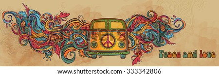 stock vector hippie vintage car a mini van ornamental background love and music with hand written fonts hand 333342806 - Каталог — Фотообои «Ретро»