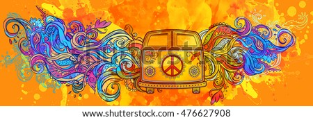 Hippie vintage car a mini van. Ornamental background. Love and Music with hawn doodle background and textures. Hippy color vector illustration. Retro 1960s, 60s, 70s